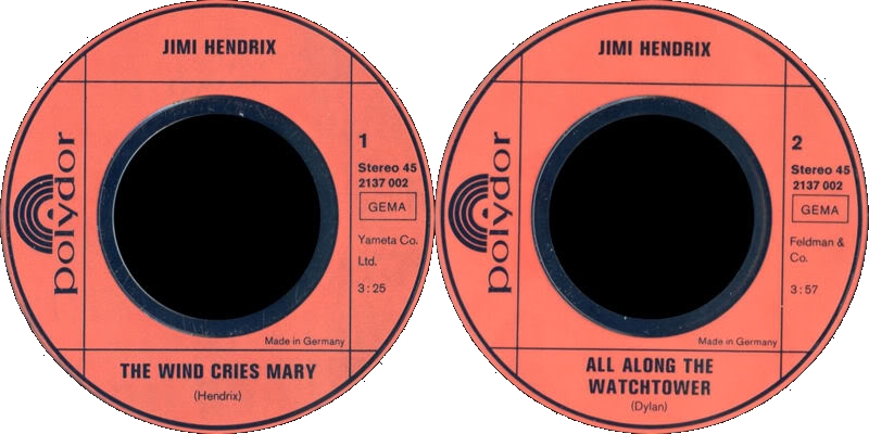 Discographie : 45 Tours : SP,  EP,  Maxi 45 tours 1972%20Polydor%202607001HeyJoe-PurpleHaze-TheWindCriesMary-AllAlongTheWatchtowerLabel2
