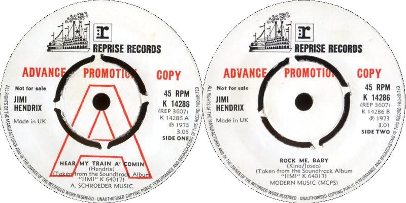 Discographie : 45 Tours : SP,  EP,  Maxi 45 tours - Page 8 1973%20Reprise%20K14286-HearMyTrainAComin-RockMeBabyPromo