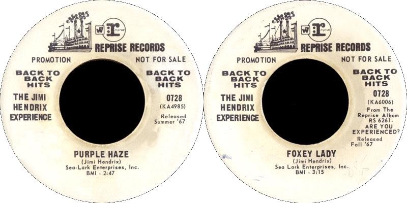 Discographie : 45 Tours : SP,  EP,  Maxi 45 tours - Page 8 1975RepriseGRE0728promo-PurpleHaze-FoxyLady