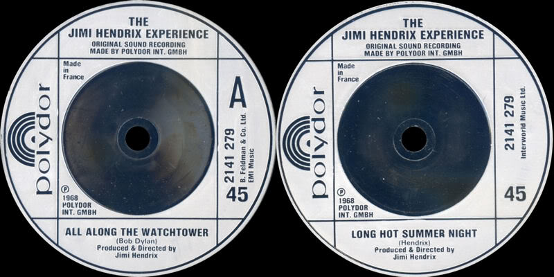 Discographie : 45 Tours : SP,  EP,  Maxi 45 tours - Page 4 1980%20Polydor%202141279-AllAlongTheWatchtower-LongHotSummerNight