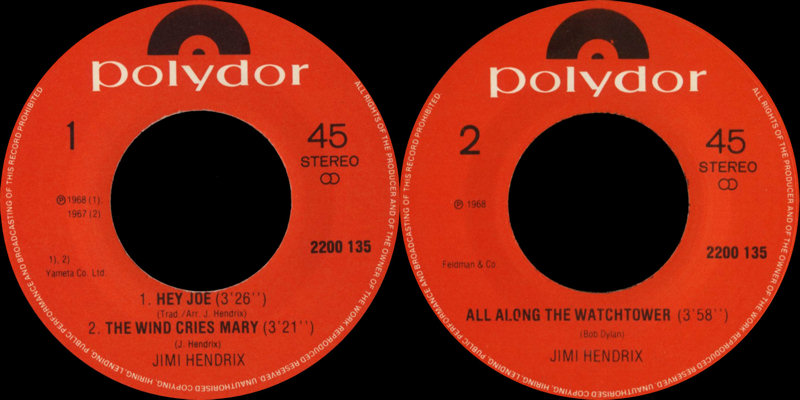 Discographie : 45 Tours : SP,  EP,  Maxi 45 tours - Page 9 1980%20Polydor%20EP2200135-HeyJoe-AllAlongTheWatchtower-TheWindCriesMaryLabel