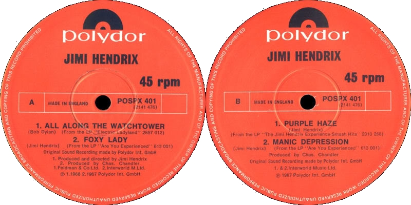Discographie : 45 Tours : SP,  EP,  Maxi 45 tours - Page 6 1982%20Polydor%20POSPX401-AllAlongTheWatchtower-FoxyLady-PurpleHaze-ManicDepressionLabel