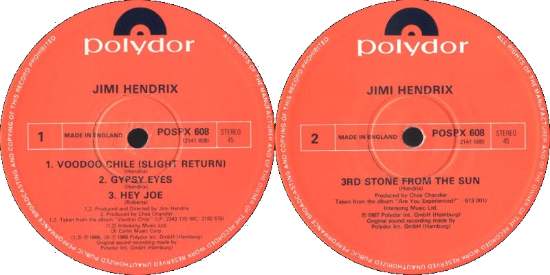 Discographie : 45 Tours : SP,  EP,  Maxi 45 tours - Page 3 1982%20Polydor%20POSPX608-VoodooChileslightreturn-GypsyEyes-HeyJoe-3rdStoneFromTheSunLabel