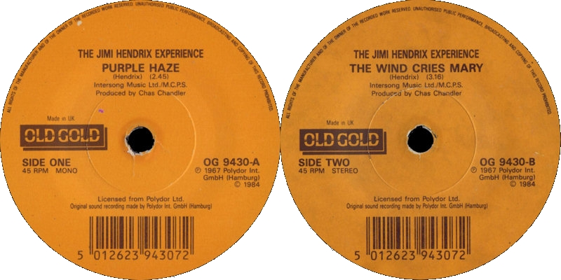 Discographie : 45 Tours : SP,  EP,  Maxi 45 tours 1984%20Old%20Gold%20OG9430-PurpleHaze-TheWindCriesMary