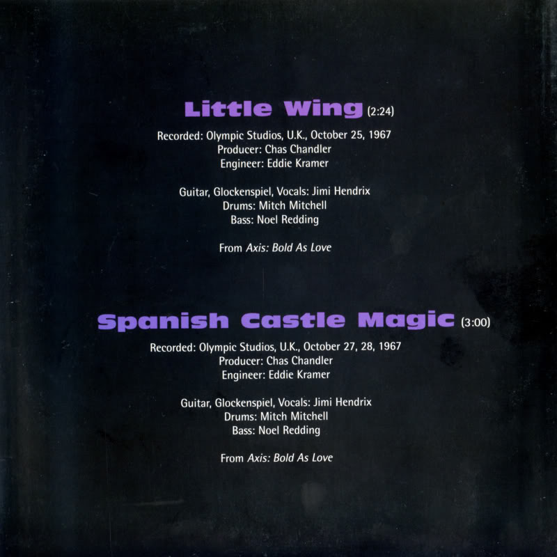 Discographie : 45 Tours : SP,  EP,  Maxi 45 tours 1998%20Experience%20Hendrix%20RTH-1007%20LittleWing-SpanishCastleMagicBack