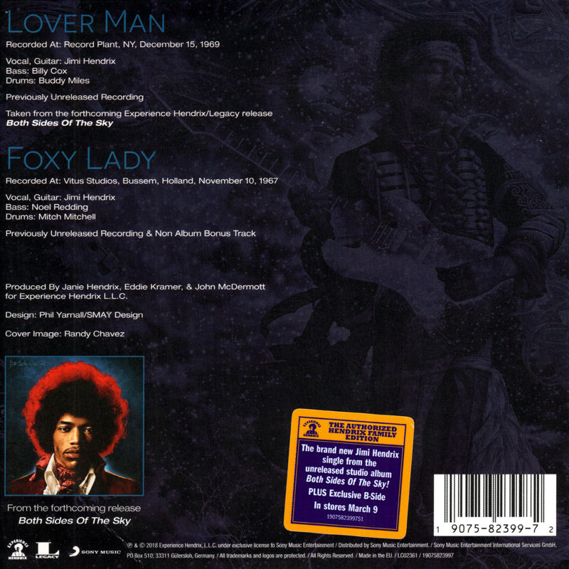Discographie : 45 Tours : SP,  EP,  Maxi 45 tours - Page 11 Experience%20Hendrix%209075.82399-7%20Lover%20Man%20-%20Foxy%20Lady%20Back