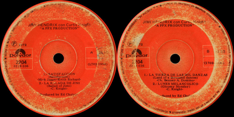 Discographie : Enregistrements pré-Experience & Ed Chalpin  - Page 5 Polydor2204-Satisfaccion-LaBaladaDeJimi-LaTierraDeLasMilDanzas-LunesMelancolico