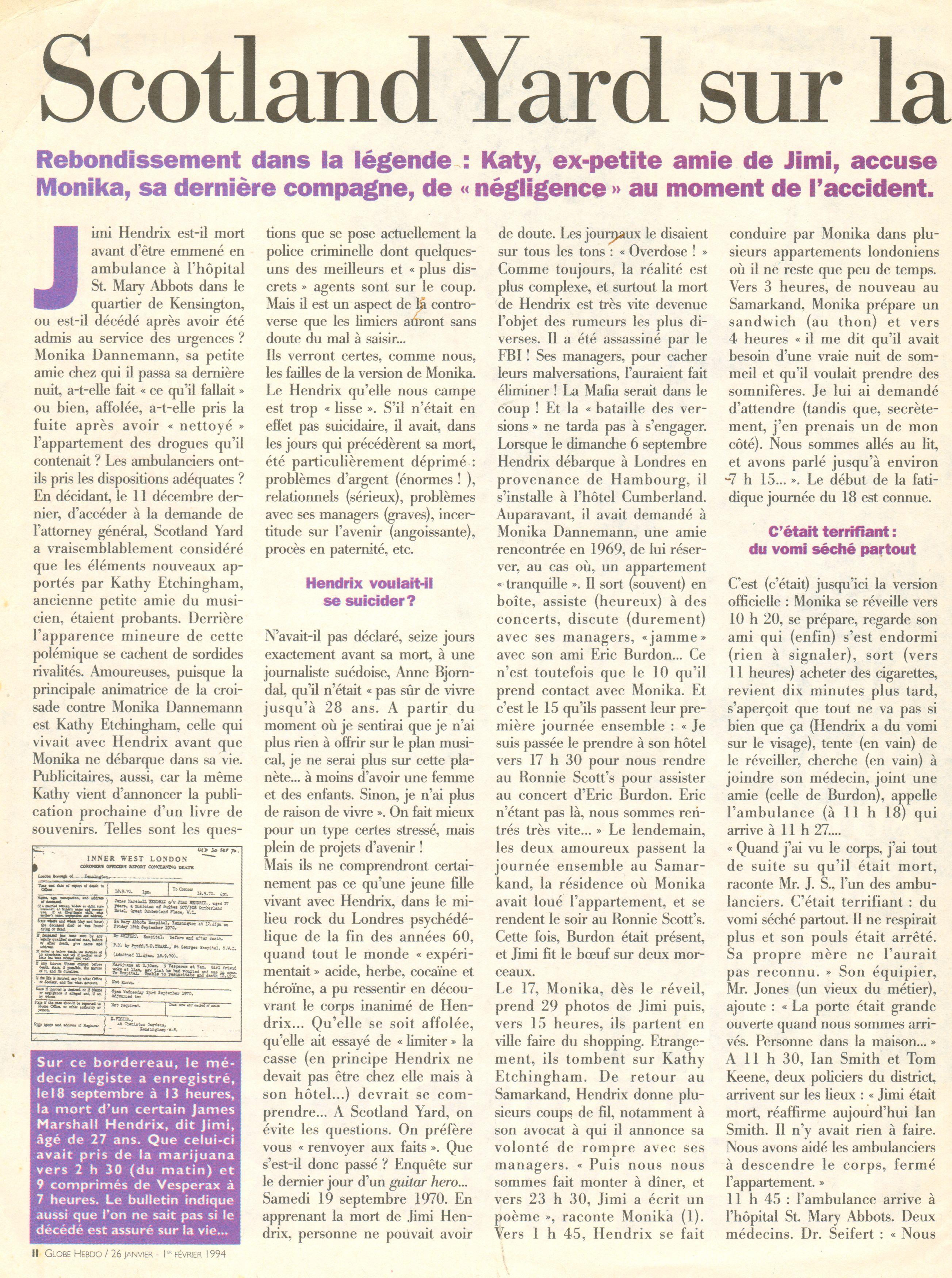 Magazines Français 1989 - 2014 GlobeHebdo26Janvier1reFevrier1994Page02