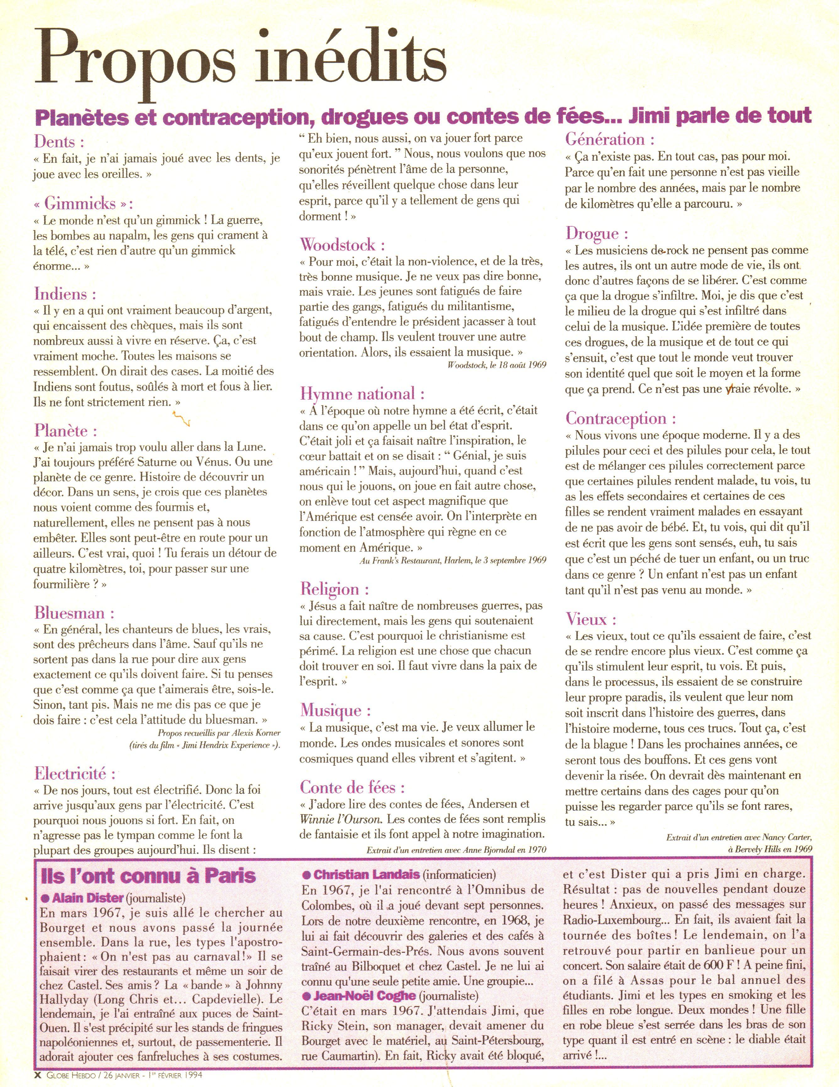 Magazines Français 1989 - 2014 GlobeHebdo26Janvier1reFevrier1994Page10