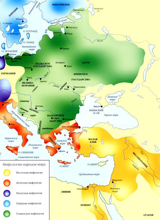 slavların avrupaya yayılışını gösteren bir harita Slav_map
