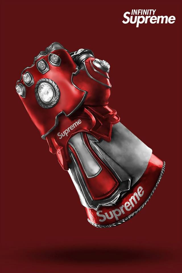 Le Gant de l'Infini revisité par des Vuitton, Supreme, Nike… By Golem13 Gant-Infini-THANOS-Supreme