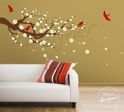 ألوان حوائط  Removable_Vinyl_wall_sticker_decal_Art-Season_of_Cherry_Blossom_branch_in_3_color_-__LARGE__-_dd1013