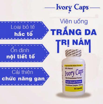 Sản phẩm cần bán: Ivory Caps viên uống Trắng Da Trị Nám Tàn Nhang Vien_uong_trang_da_tri_nam_Ivory_cap