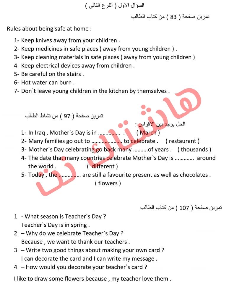 تلخيص كتاب مادة اللغة الانكليزية للصف السادس الابتدائي للعام  2019 3-6
