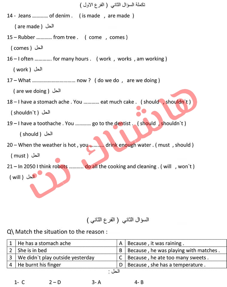 تلخيص كتاب مادة اللغة الانكليزية للصف السادس الابتدائي للعام  2019 7-3