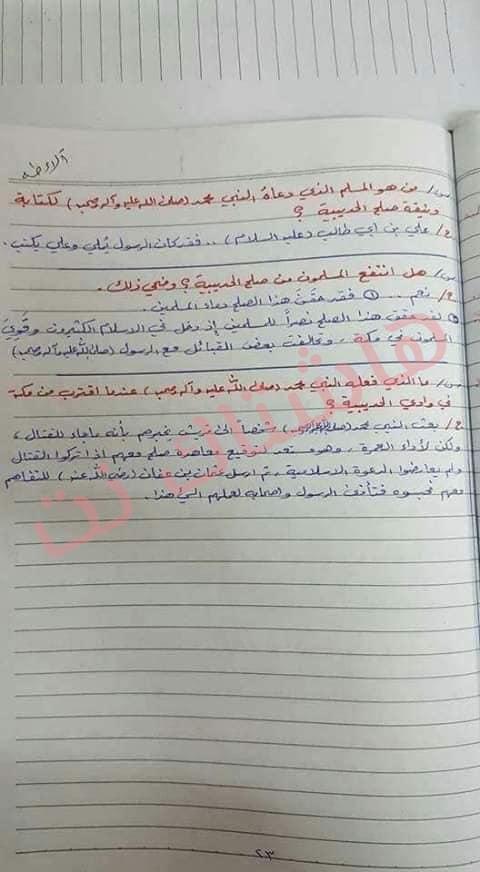 ملخص الاسلامية كامل للصف السادس الابتدائي 2019 14
