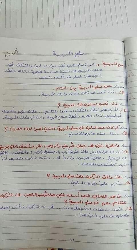 ملخص الاسلامية كامل للصف السادس الابتدائي 2019 19