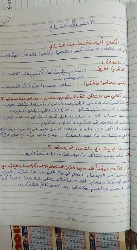 ملخص الاسلامية كامل للصف السادس الابتدائي 2019 26