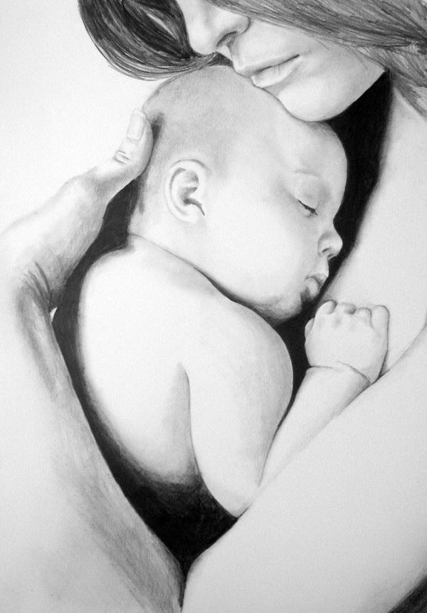 Crteži olovkom/grafika - Page 22 Baby-in-moms-arms-pencil-drawing