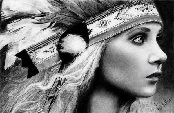 Crteži olovkom/grafika - Page 23 Native-american-girl-pencil-drawing