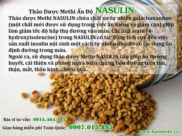 Thảo dược Methi Nasulin giải pháp điều trị tiểu đường, mỡ máu tại nhà HAT%20METHI%20NASULIN%20600X450