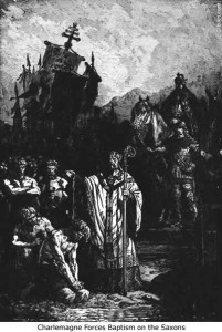 Caucasians Around The Ancient World   Charlemagne-forces-baptism-on-Saxons-201x300