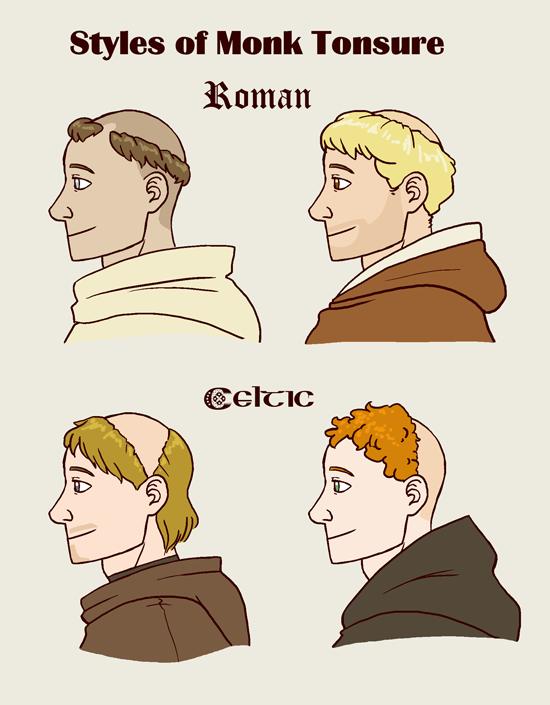 Moines du haut Moyen Âge : la tonsure celtique ? Monk-tonsure