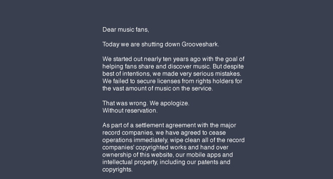 Grooveshark ha muerto, la industria musical gana la batalla 650_1200