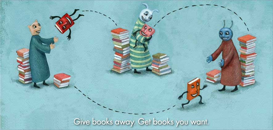 Give books away- Get books you want  Illustration