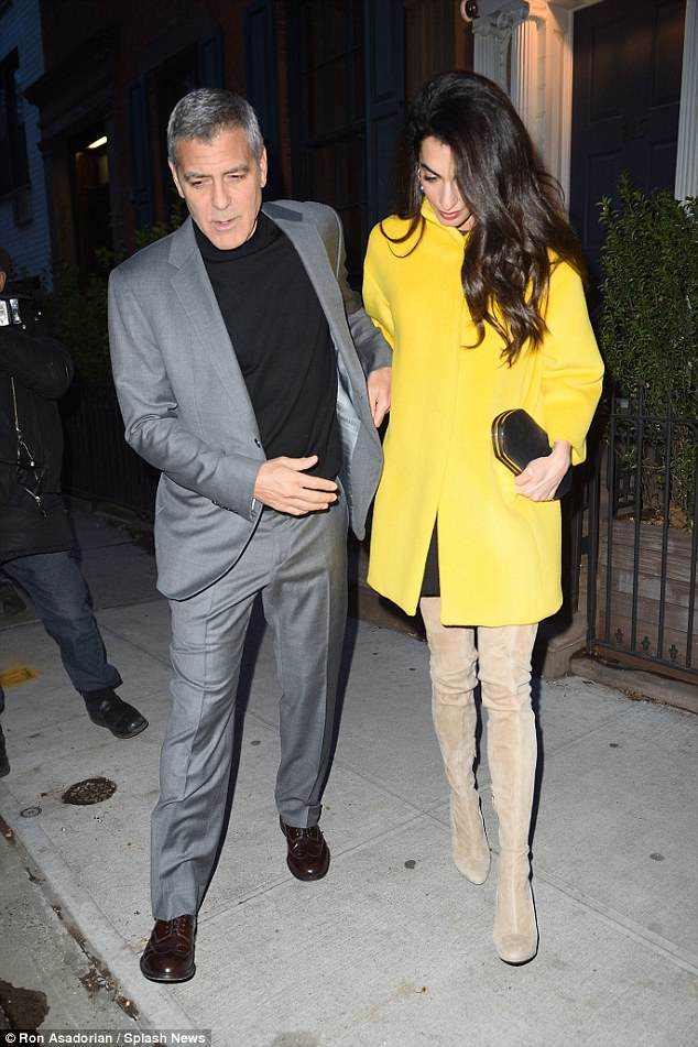 George and Amal Leaving House this evening (Friday 6 April) 4AE6AD4E00000578-0-image-a-34_1523062032526