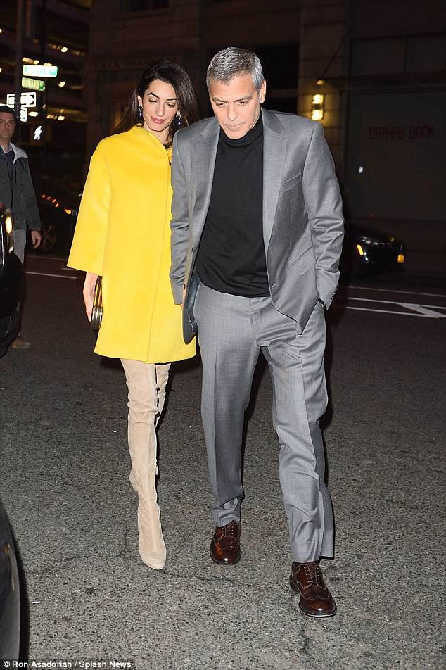 George and Amal Leaving House this evening (Friday 6 April) 4AE6AD4100000578-5588117-image-a-9_1523066062627