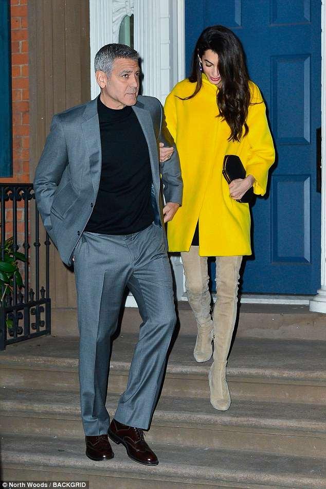 George and Amal Leaving House this evening (Friday 6 April) 4AE6DFEB00000578-5588117-image-a-3_1523064256044