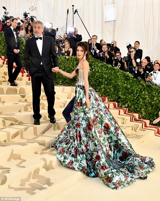 George and Amal Clooney Later at after party after the Met Gala2918 4BF3F1F900000578-0-Success_Once_the_new_parents_joined_hands_he_walked_up_the_stair-a-6_1525781490802