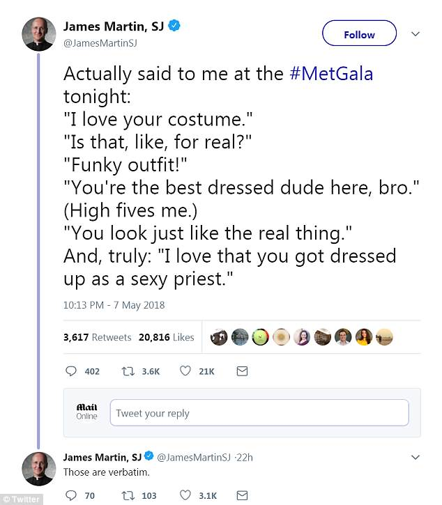 Priest with George praised at the Met Gala for his 'costume' 4BFF6C5F00000578-0-image-a-57_1525829286007