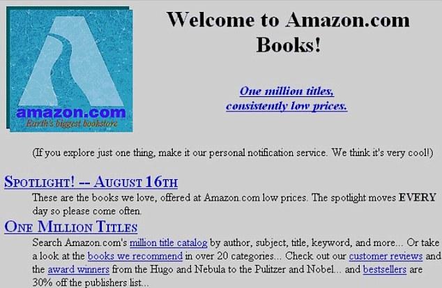 """قبل أن يحكم على الإنترنت : """"القديمة"""" الصفحات الرئيسية لنهر الأمازون، وجوجل وتغيرت العملاقين والفيسبوك """"سيتم عرض الكثير من الويب  Article-2088445-0F82815A00000578-513_634x413"""