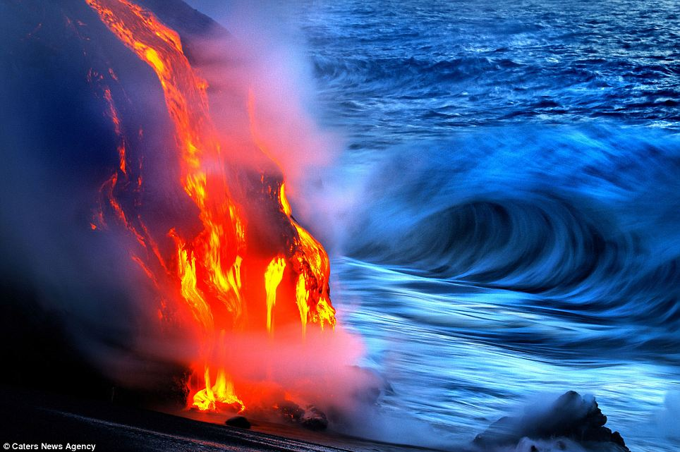 """""""Photographers brave boiling waters to capture the drama of ... lava crashing into the sea off Hawaii""""  Article-2198591-14D878B9000005DC-363_964x641"""