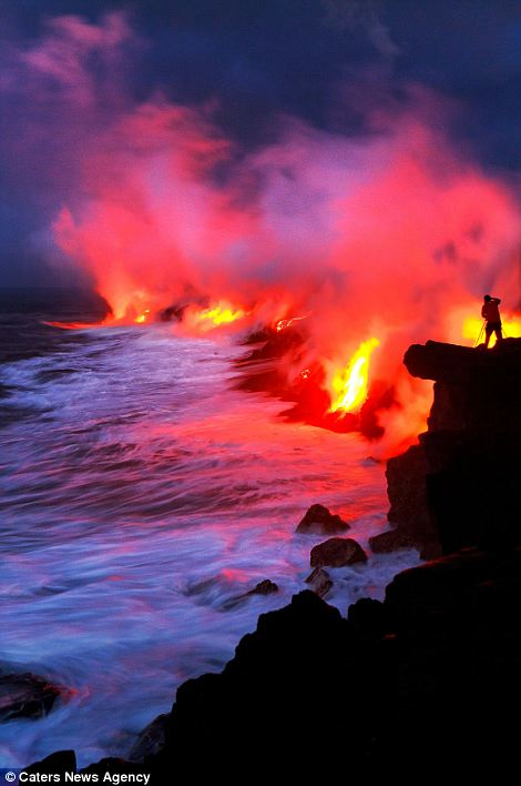 """""""Photographers brave boiling waters to capture the drama of ... lava crashing into the sea off Hawaii""""  Article-2198591-14D87969000005DC-476_470x708"""