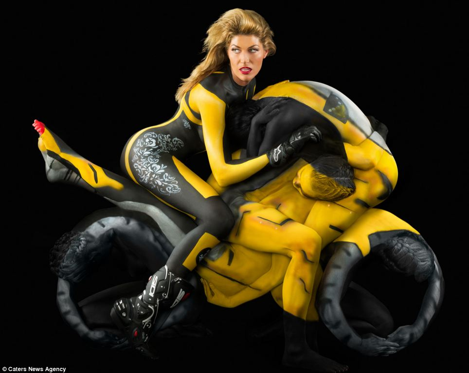 Amazing pictures of naked models covered in bodypaint and contorted into human motorbikes  Article-2222350-15A7C797000005DC-944_964x768