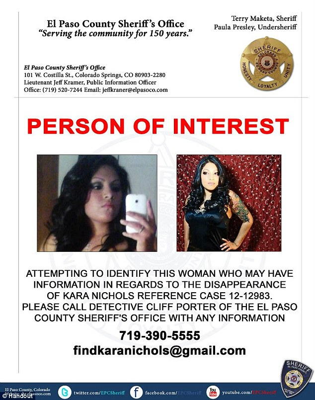Kara Nichols 19 missing since Oct. 9 was believed to be coming to Denver for work. Lingerie model was last seen in Colorado Springs/Update 11.24.12: LE fears Kara was abducted and seek 2 unnamed females who were last seen with Kara Article-2236603-1627DE16000005DC-297_634x805