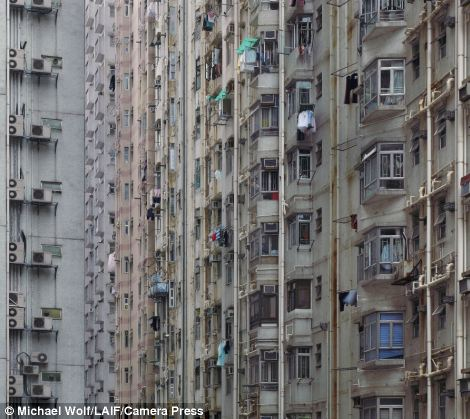 Densely packed flats in a Hong Kong high rise