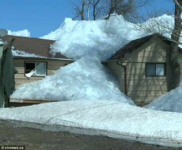 Massive wall of ice rises out of lake and destroys a dozen homes as residents watch helplessly from the shore  Article-0-19BDA863000005DC-229_634x524