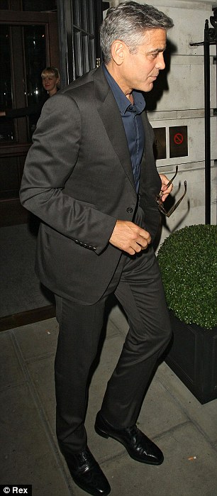 George Clooney at dinner in London Article-2476355-18F77C9900000578-320_306x699