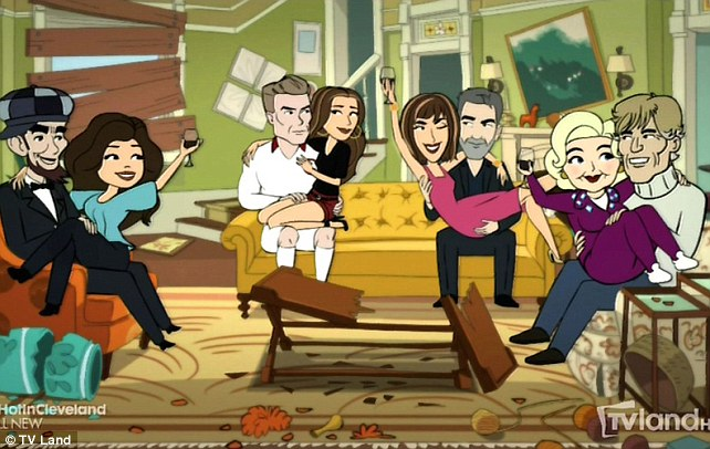 George Clooney and David Beckham in 'Hot in Cleveland' Article-2711991-20259C6700000578-484_642x406