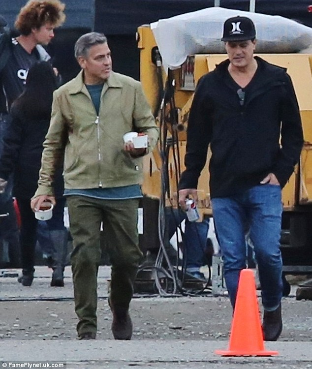 George Clooney on the set of Tomorrowland to reshoot in Vancouver 1413553497510_wps_37_Picture_Shows_George_Cloo