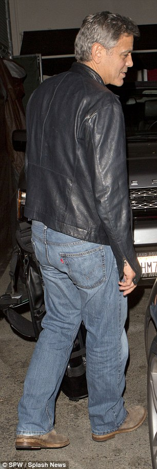 George Clooney out at Saturday night in Hollywood 1413757299230_wps_44_George_Clooney_and_his_go