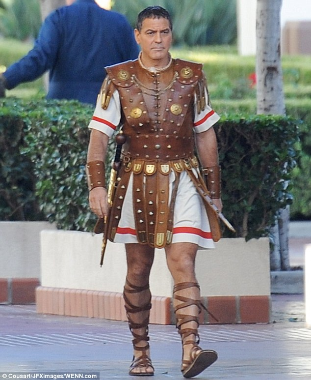 Hail Caesar filming in L A - George Clooney on the set 23C078A600000578-2861698-Looking_good_George_s_costume_also_consisted_of_thick_brown_leat-m-91_1417755546397