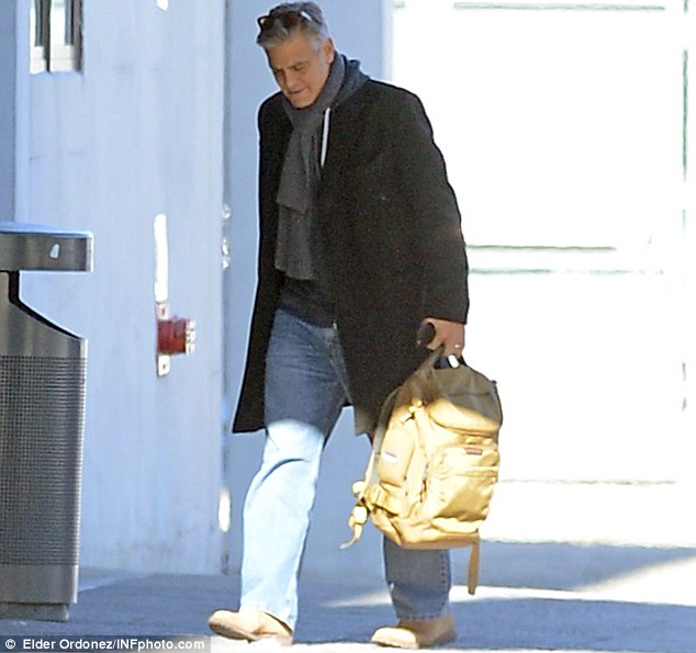 George Clooney arrives to set of Jodie Foster-directed movie Money Monster for his first day of filming 263A125800000578-0-image-m-197_1425252062826