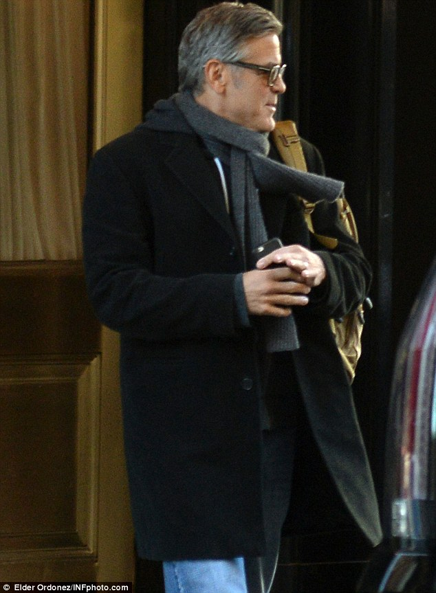 George Clooney arrives to set of Jodie Foster-directed movie Money Monster for his first day of filming 263A134800000578-0-image-m-184_1425251720038