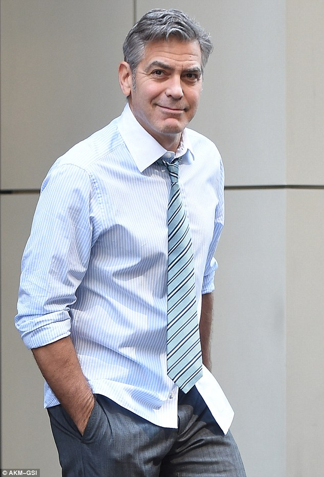 George Clooney on location: Money Monster NYC April 18, 2015 27B4071400000578-3044926-image-m-78_1429375325883