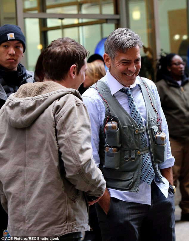 George Clooney Walking Around New York City In A Suicide Vest While Filming 'Money Monster' Friday, 24th April 2015 27F67CE700000578-3055163-image-m-86_1429962643952